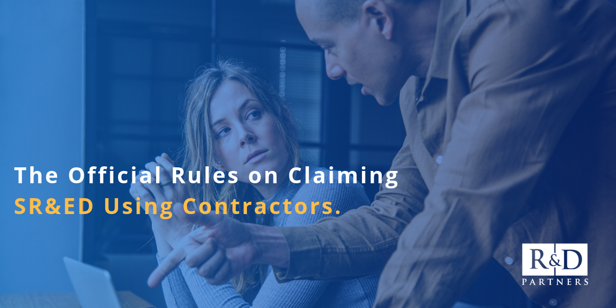 The official rules on claiming SR&ED using contractors