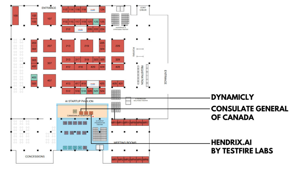 Where are Canadian delegates located on the floor plan?